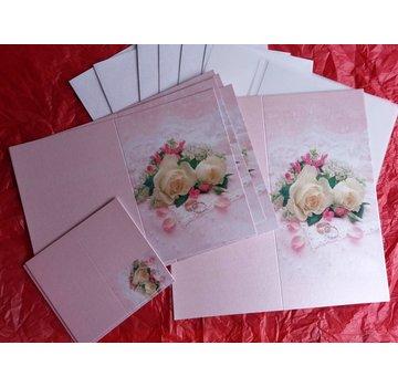 BASTELSETS / CRAFT KITS Elegante set di carte per occasioni festive, fedi nuziali con rose bianche - ULTIMO SET!