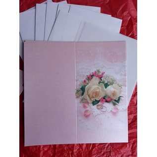 BASTELSETS / CRAFT KITS Elegant card set for festive occasions, wedding rings with white roses - LAST SET!