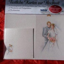 BASTELSETS / CRAFT KITS Elegante conjunto de tarjetas, recién casados: ¡para 6 tarjetas de invitación, 2 tarjetas de menú y 6 tarjetas de lugar! Último set!