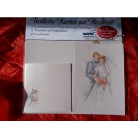 BASTELSETS / CRAFT KITS Stilfuldt kort sæt, nygifte: til 6 invitationskort, 2 menukort og 6 pladskort! Sidste sæt!