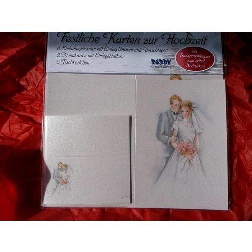 BASTELSETS / CRAFT KITS Jeu de cartes chic, jeunes mariés: pour 6 cartes d'invitation, 2 cartes de menu et 6 cartes de place! DERNIÈRE SET!