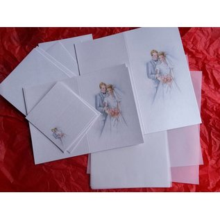 BASTELSETS / CRAFT KITS Classy card set, newlyweds: for 6 invitation cards, 2 menu cards and 6 place cards! LAST SET!