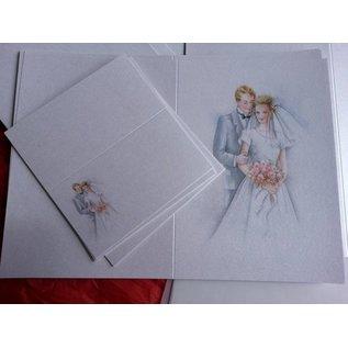 BASTELSETS / CRAFT KITS Edeles Kartenset , Brautpaar: für 6 Einladungskarten, 2 Menükarten und 6 Tischkarten!  LETZES SET!