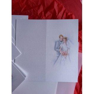 BASTELSETS / CRAFT KITS Stijlvolle kaartenset, pasgetrouwden: voor 6 uitnodigingskaarten, 2 menukaarten en 6 plaatskaarten! LAATSTE REEKS!