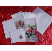 BASTELSETS / CRAFT KITS Elegant kort sæt til festlige lejligheder, vielsesringe med rosa roser - SENTSTE SET!