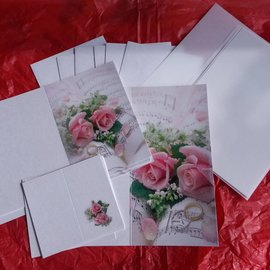 BASTELSETS / CRAFT KITS Elegante juego de tarjetas para ocasiones festivas, anillos de boda con rosas rosadas - ¡ÚLTIMO JUEGO!