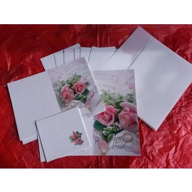 BASTELSETS / CRAFT KITS Elegante set di carte per occasioni festive, fedi nuziali con rose rosa - ULTIMO SET!
