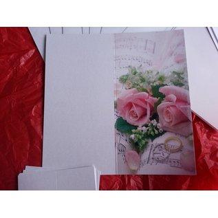 BASTELSETS / CRAFT KITS Elegant card set for festive occasions, wedding rings with pink roses - LAST SET!