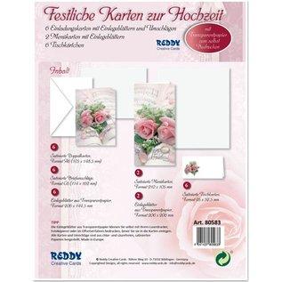 BASTELSETS / CRAFT KITS Elegante kaartenset voor feestelijke gelegenheden, trouwringen met roze rozen - LAATSTE REEKS!