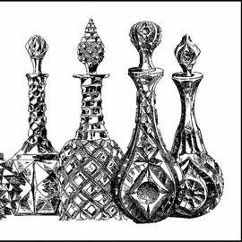 LaBlanche Lablanche timbro: Decanter di vetro, flaconi di profumo (2 francobolli)