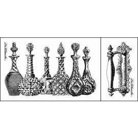 LaBlanche Lablanche stempel: glazen kannen, parfum flesjes (2 stamps)