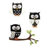 Embellishments / Verzierungen 3D Sticker: Owl sort, med lim prik, 3 stk