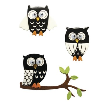 Embellishments / Verzierungen 3D Sticker: Owl black, with glue dot, 3 pieces