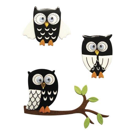 Embellishments / Verzierungen Autocollant 3D: Owl noir, avec point de colle, 3 pièces