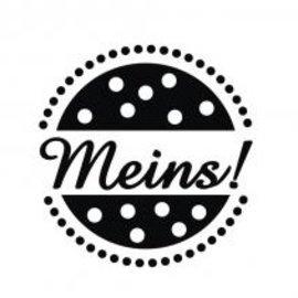 """Stempel / Stamp: Holz / Wood Madera mini estampilla con las palabras alemanas """"mío"""", de 2 cm ø"""