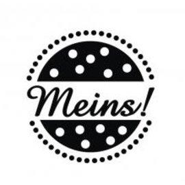 """Stempel / Stamp: Holz / Wood Holz-Mini-Stempel mit deutschem Text """"meins"""" , 2cm ø"""