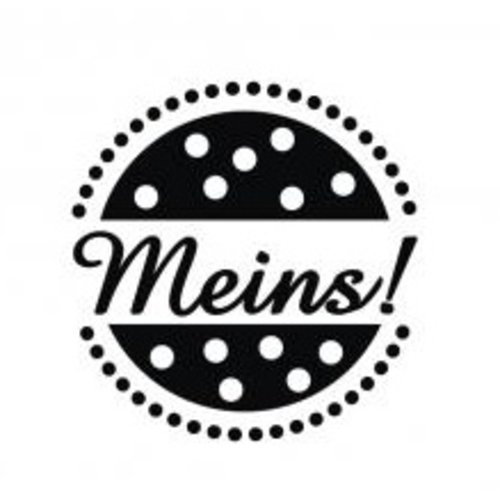 "Stempel / Stamp: Holz / Wood Wood mini stamp with German words ""mine"", 2cm ø"
