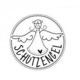 """Stempel / Stamp: Holz / Wood mini-stempel i tre med tysk tekst """"Guardian Angel"""", 2cm ø"""