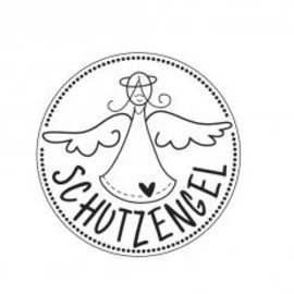 """Stempel / Stamp: Holz / Wood wooden mini stamp with German text """"Guardian Angel"""", 2cm ø"""