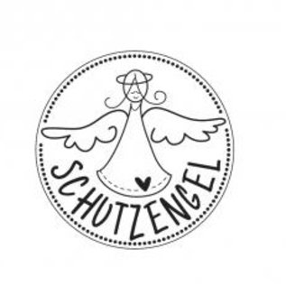 "Stempel / Stamp: Holz / Wood houten ministempel met Duitse tekst ""Guardian Angel"", 2cm ø"