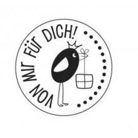 """Stempel / Stamp: Holz / Wood Holze mini stempel met Duitse tekst """"van mij aan jou"""", ø 2cm"""