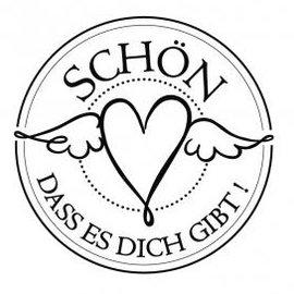 """Stempel / Stamp: Holz / Wood Holze mini stempel met Duitse tekst """"leuk dat je er bent"""", 3cm diameter"""