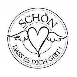 """Stempel / Stamp: Holz / Wood Holze mini stempel med tyske tekst """"dejligt, at du er der"""", 3 cm diameter"""