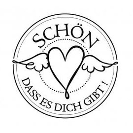 """Stempel / Stamp: Holz / Wood mini bollo Holze con testo tedesco """"bello che ci sei"""", di diametro tre centimetri"""