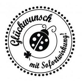 """Stempel / Stamp: Holz / Wood mini-tampon avec Holze allemands texte «Félicitations, avec effet immédiat"""", 3cm de diamètre"""