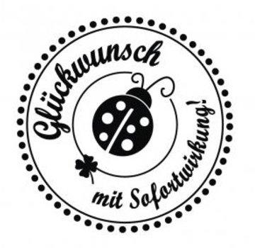 """Stempel / Stamp: Holz / Wood Holze mini stempel met Duitse tekst """"Gefeliciteerd met onmiddellijke ingang"""", 3cm diameter"""