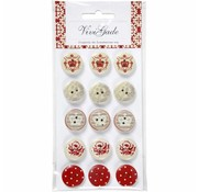 Embellishments / Verzierungen 15 Designer Buttons, Wooden Buttons with 2 holes and prints