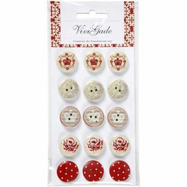 Embellishments / Verzierungen 15 Buttons Designer, tasti di legno con 2 fori e stampe