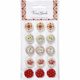 Embellishments / Verzierungen 15 Botones de diseño, botones de madera con 2 orificios y grabados
