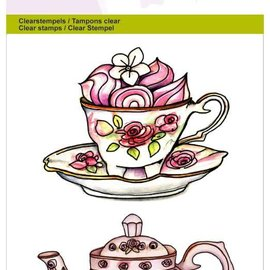 "Crealies und CraftEmotions I timbri trasparenti A6, teiera, tazza e piattino ""High Tea Rose"""