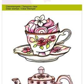 "Crealies und CraftEmotions Transparante stempels A6, theepot, kop en schotel ""High Tea Rose"""