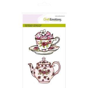 """Crealies und CraftEmotions Transparent stempel A6, Teekanne, Tasse und Untertasse """"High Tea Rose"""""""