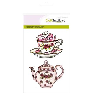"""Craftemotions Transparent stempel A6, Teekanne, Tasse und Untertasse """"High Tea Rose"""""""