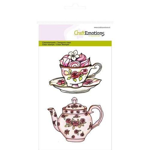 "Crealies und CraftEmotions Tampons transparents A6, théière, tasse et soucoupe ""High Tea Rose"""