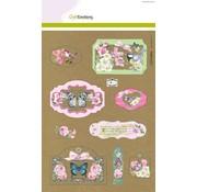 Stempel / Stamp: Transparent CraftEmotions Kraft paper design Botanical 4 Bogen A4