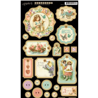 GRAPHIC 45 Chip boards, gestempelde delen, Sweet Sentiments Collection