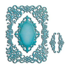 Spellbinders und Rayher Spellbinders Nestabilities Labels, punch template kleedjes, sierlijsten en hoek