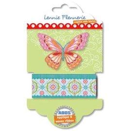 Textil Lennie Flennerie, Schmetterling Stoffband und Applique