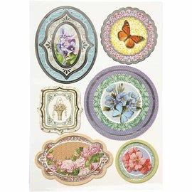 STICKER / AUTOCOLLANT Folie mærkat, størrelse 23,5x16,5 cm, blomster, 4 slags. blad