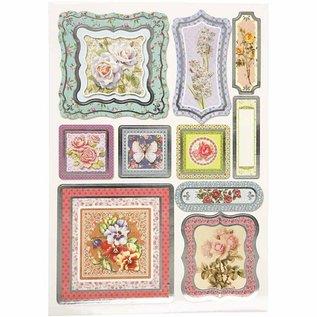STICKER / AUTOCOLLANT Folie sticker, grootte 23,5x16,5 cm, bloemen, 4 sorteren. blad