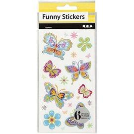 STICKER / AUTOCOLLANT Grappige Stickers, Vlinder, 6 assorti vel