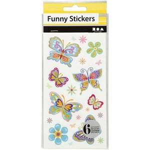 Sticker Grappige Stickers, Vlinder, 6 assorti vel
