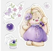 Stempel / Stamp: Transparent Clear stempels, 105 x 105 mm, Bunny en pruimen