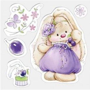 Stempel / Stamp: Transparent Klare stempler, 105 x 105 mm, Bunny og blommer