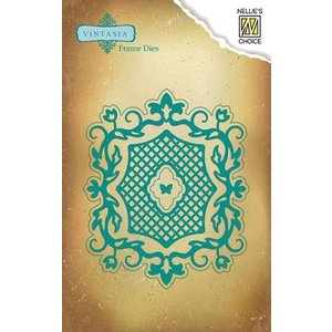 Nellie Snellen Vintasia embossing and cutting template, romantic frame with Grid