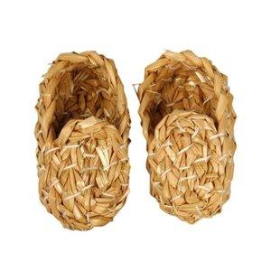 Objekten zum Dekorieren / objects for decorating Nostalgische stro schoenen in prachtige kwaliteit, L: 8 cm, 1 paar
